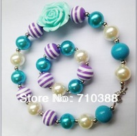 wholesale free shipment Valentine blue rose flower Striped solid beads jewelry set kid necklace&bracelet