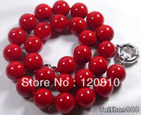 Red Coral 12mm Beads Silver Clasp  Necklace