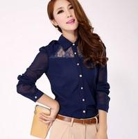 CS255 Fashion Chest Lace Casual Cotton Shirt Women Clothing Charm Long Sleeve White Black Slim Blouse Size 5XL 6XL Free Shipping