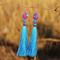 Free shipping Female accessories national trend accessories unique handmade fabric earrings earring drop earring byrh-0604
