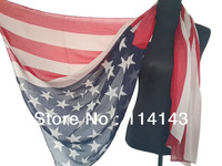 10pcs/lot Patriotic US American Flag Scarf Stars Print Shawl Wrap 180cm*110cm, Free Shipping