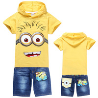6sets/lot wholesale Children's clothing sets 2014 new summer despicable me minions kids boys hoodies hooded+jeans sports suits