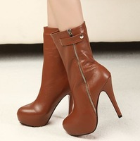 2013 fashion two ways high-heeled platform thin heels side zipper knee-high women's shoes