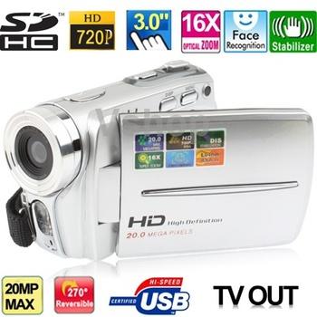 Hd5000a серебро HD 720 P 5 мега 16X зум цифровой фотоаппарат с 3.0 дюймов TFT LCD экран 270 град. вращения