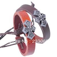 12 PCS Hot Fashion Stylish Cross Sign Charms Alloy Genuine leather Cuff bracelets Free shopping