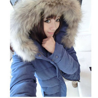 Free Shipping 2014 New Women Korean Thick Down Cotton-padded Real Fur Outerwear Coats Slim Short Winter Down Parkas