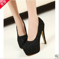 High-heeled shoes 2014 spring lace thin heels shallow mouth high-heeled shoes