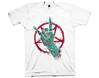 An iron fist zombie  Death hardcore rock ROCK ROLL  skeleton Hip hop rap Men's short sleeve T-shirt Pure cotton