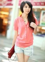 womens summer chiffon shirt silk tops loose blouses shirts F4270