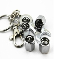 1 Set  Car Wheel Tire/Tyre 4 PCS Valves Caps With Wrench Key Chain For MAZDA