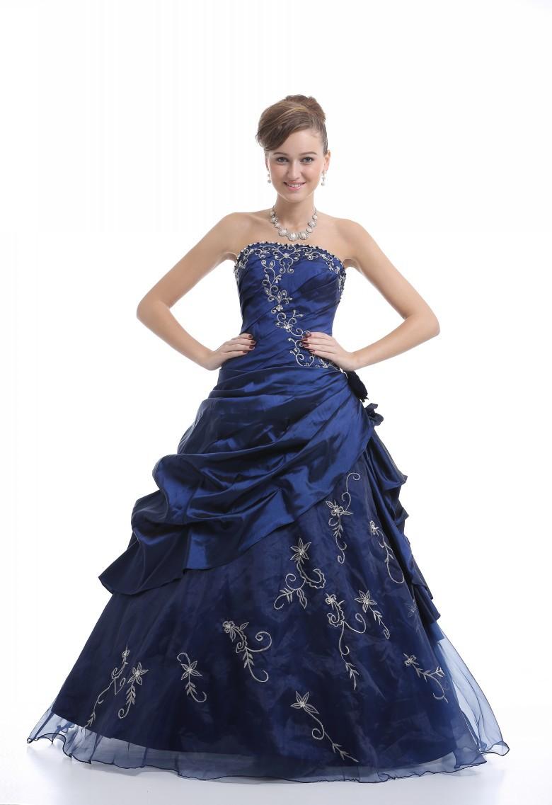 Free shipping 2014 fashion wedding dress princess dress embroidered navy blue taffeta wedding dress bandage foam grip(China (Mainland))