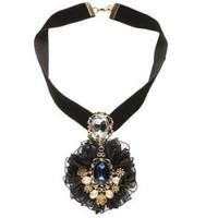 2014 Autumn Winter Lace Chiffon Black Short Necklace Vogue Baloque Style Women Accessories  Match  T-Shirt And Dress