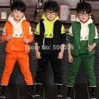 2013 child winter velvet thickening sports set  children's clothing male child clothing sets