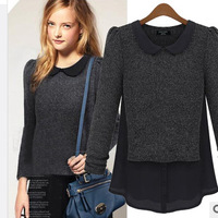 Fashion autumn 2013 top fashion peter pan collar long-sleeve sweater female sweater shirt