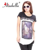2013 summer mm medium-long plus size head portrait print lace decoration short-sleeve round neck T-shirt