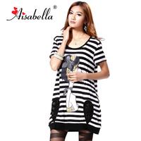 2013 women's plus size cartoon black and white stripe mm loose plus size long design short-sleeve T-shirt