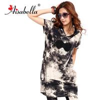 Aisabella 2013 plus size clothing summer mm print loose medium-long t-shirt