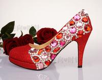 Red crystal shoes wedding shoes wedding shoes bridal shoes rhinestone formal dress bridesmaid wedding dinner high heels single