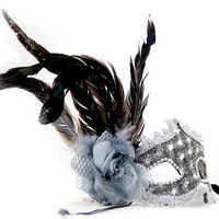 Wholesale price Leather of sidepiece long feather belt mask flower ball princess mask  with cheap price