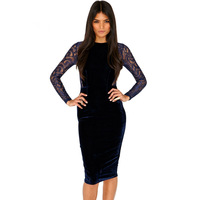 Women's Navy velet Lace Detail Midi Dress, slim dress women clothing