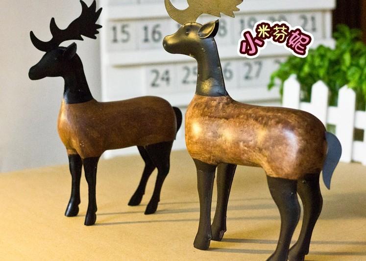 Feito à mão a cor Nordic exótico log forjado artigos de decoração de ferro conjunto de 2 cozimento estanho veado sika(China (Mainland))