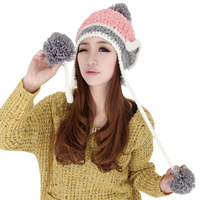 Hair ball knitted hat female winter hat cap ear protector millinery winter paragraph hat fashion knitting wool cap winter