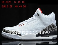 wholesale  largest men basketball shoes classic 3 in black and in white athletic shoes sport shoes with free shipping size 14-16