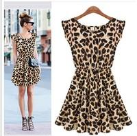 Free shipping European Grand Prix women's new original single was thin waist round neck sleeveless leopard dress
