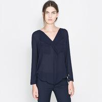 2014 New Arrival! Free Shipping! navy blue chiffon v-neck shirt blouses v-shaped hem chiffon blouses & shirts