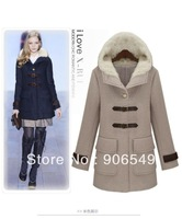 New Women Thickening Hooded Wool Pea Coat  Winter Big Pockets Slim Freece Woolen Military Long Trench Coat
