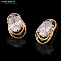 2014 High Quality Women Stud Earrings AAA+ Zircon18k Gold Plated