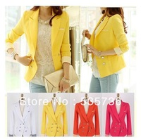 2013 new Autumn New Arrival KoreaStyle yellow Blazers Clothes coat for Women Candy Color white red for Ladies Top  911