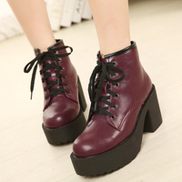 2014 Women's shoes thick heel high heels leather boots autumn and winter ankle booties shoes woman size 35-39