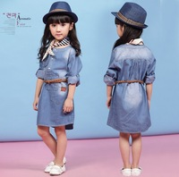 Free shipping wholesale 5pcs/lot 2014 new arrive children spring clothing korean baby girl's denim dress including belt