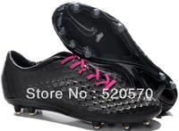 Black purple men's soccer shoes cleats 2014 hypervenom fg athletic boots us6.5-12size dropship fast delivery