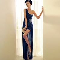 2013 one shoulder design long evening dress formal dress dinner choral service bride evening dress