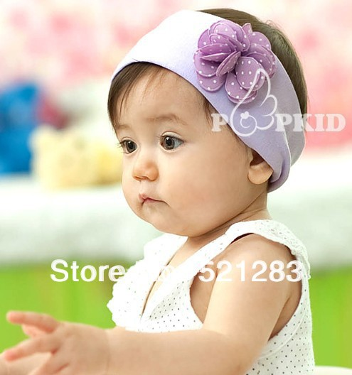 min order 5usd High Quality Dot Flower Broadband Baby Girl's Headband Headwear,Topknot Hair Accessories,Infant Hair Band xth122(China (Mainland))