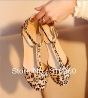 Free Shipping Leopard Print Flat Heel Women's Sandals 2014 Summer Women Summer Shoes Summer Shoes Fashion Sandals Sweet HY2245
