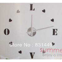DIY 3D love  Digital Mirror Sticker Wall Clock Unique Style Gifts Art Wall Clocks Watch Home Decoration