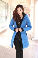 Free Shipping 2014 New Fashion Korean Stylish Women Slim Long Down Parkas Plus Size Winter Jackets Down Cotton Wadded Outerwears
