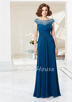 Newest long a line scoop cap sleeve crystal beaded tulle pleated blue chiffon prom gown party evening dresses 2014