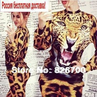 Plus 2014 Autumn Winter Set Animal Leopard Sweater Tiger 3D Print Sport Sweater Hoodie Sweater Suit Sports wear for Women #R0070