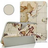 Retro Map Tri-Fold PU Leather tablet pc case Cover Luxury case Stand for Samsung Galaxy Note 10.1 N8000 3 Colors