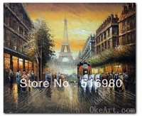 1900's Paris Eiffel Tower Horse Carriage Sunset Oil On Canvas Painting Art