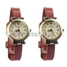 Free shipping!!!Cowhide Watch Bracelet,Women Jewelry, with zinc alloy dial, antique bronze color plated, red, nickel