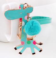 2014 novelty items Souvenir Deer Leather Keychain Car Key Chain Men's&Women's key Ring Trinket Animal Key classic toys