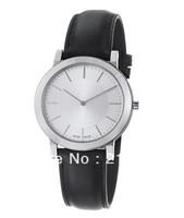 Free shipping+ wholesale! Men's BU2350 Slim Silver Dial Black Leather Strap Quartz Watch .