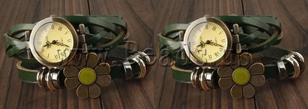 Free shipping Cowhide Watch Bracelet Western Jewelry with Zinc Alloy plated enamel 2 strand green nickel