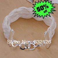 JH253 Lowest price Wholesale 925 sterling silver bracelet & bangle jewelry, 925 silver new jewelry Weaved Web Bracelet