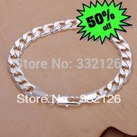 JH246 Lowest price Wholesale 925 sterling silver bracelet & bangle jewelry, 925 silver new jewelry 8mm Flat Bracelet
